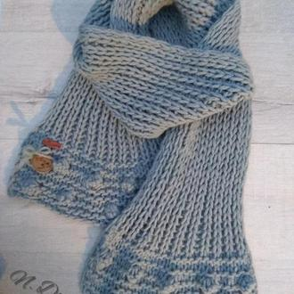 Вязанный , серый шарф с полушерсти крупной вязки, handmade