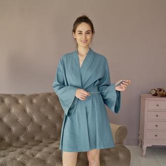 Женский  халат-кимоно из натурального льна