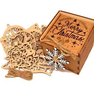 Подарочный Набор Деревянных Новогодних Елочных Игрушек 12 шт в Ореховой Коробке + Украшение на Ёлку