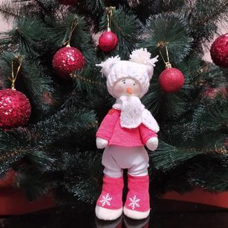 Інтер'єрна лялька іграшка Сніговик під ялинку новорічний подарунок, сувенір на новий рік