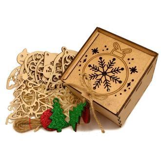 Подарочный Набор Деревянных Новогодних Елочных Игрушек 10 шт в Коробке из МДФ + Украшение на Ёлку из