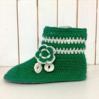 Женские вязаные носки-тапочки, 38 размер.