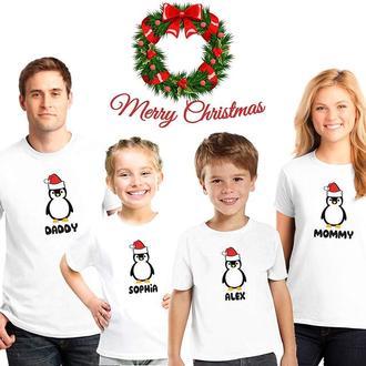 """ФП006386Футболки Push IT Фэмили Лук Family Look для всей семьи """"Пингвинчики"""""""