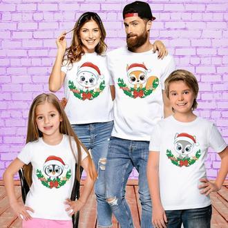 """ФП006393Футболки Push IT Фэмили Лук Family Look для всей семьи """"Зверьки: Рождество"""""""