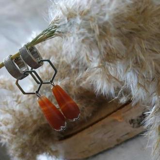 Серьги - трансформеры с сердоликом ′Светлана′