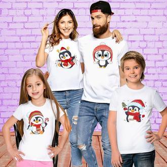 "ФП006400Футболки Push IT Фэмили Лук Family Look для всей семьи ""Пингвинчики: Новый Год 2"""