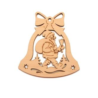 """Деревянная Новогодняя Елочная Игрушка """"Колокольчик с Дедом Морозом"""" 9 см Украшение на Ёлку из Фанеры"""