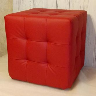 Пуф квадратный Куб 45х45 см красный Boom 16 кожзам