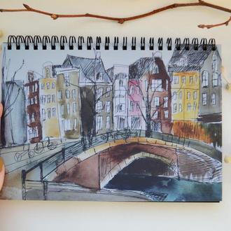 """Блокнот А5 черные страницы и белая ручка. 90 листов. Авторская иллюстрация """"Зима в Амстердаме"""""""