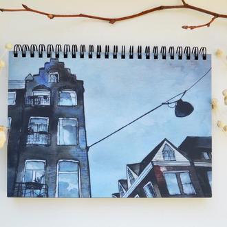 """Блокнот А5 черные страницы и белая ручка. 90 листов. Авторская иллюстрация """"Улица Амстердама"""""""