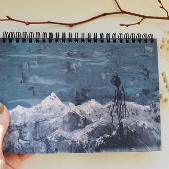 """Блокнот А5 черные страницы и белая ручка. 90 листов. Авторская иллюстрация """"Затмение"""""""