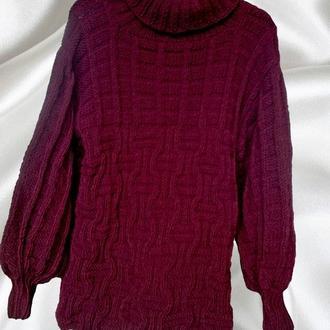 Женский свитер крупной вязки. Бордо оверсайз