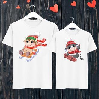 """ФП006443 Парні футболки з принтом """"Новий рік: мальовані бики 4"""" Push IT"""