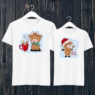 """ФП006445 Парні футболки з принтом """"Новий рік: мальовані бики 6"""" Push IT"""
