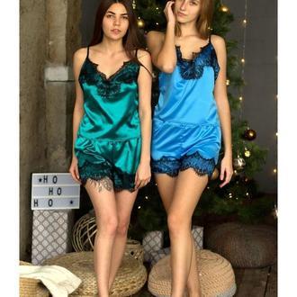 Атласный комплект для дома, женская пижама