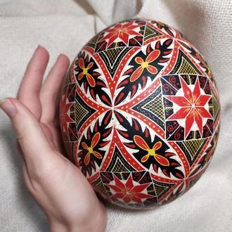 Писанка на страусином яйце  «Гуцульская с цветком»