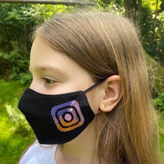 Маска «Instagram» черная детская 7-12 лет