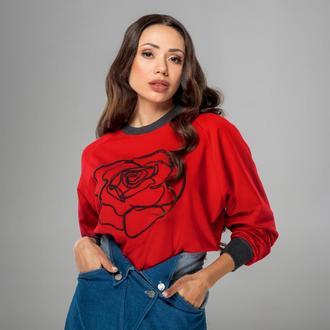 Свитшот красный Роза