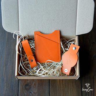 Картхолдер для пластиковых карт из кожи оранжевого цвета
