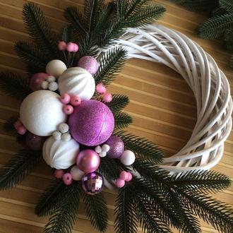 Різдвяний вінок з лози біло-бузковий