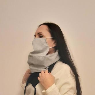 Мужской шарф снуд трёхслойный  с тремя тёплыми защитными масками
