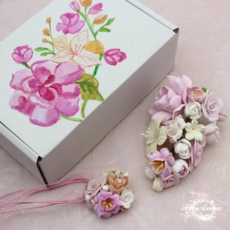Подарочный набор украшений. Заколка+кулон+коробочка