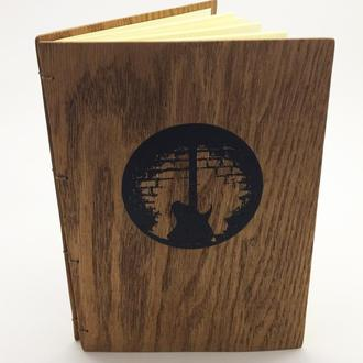 Записник, блокнот з дерев'яною обкладинкою А-5