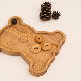 Деревянная Тарелка в Подарок Ребенку,Тарелка в Форме Мишки в Подарок