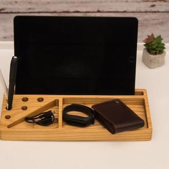 Персонализированная Деревянная Подставка для Планшета Телефона Ручек Ключей в Подарок Папе Любимому