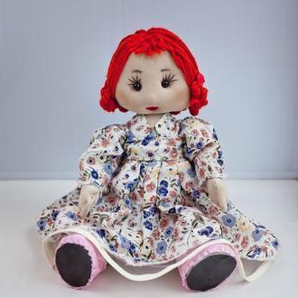 Интерьерная кукла с рыжими волосами