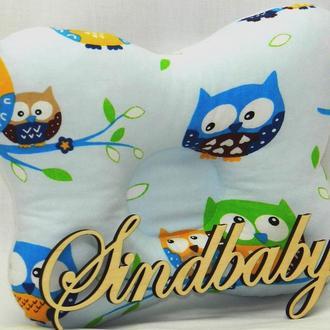 """Подушка с ортопедическими свойствами для новорожденных """"Совенок"""", голубая"""