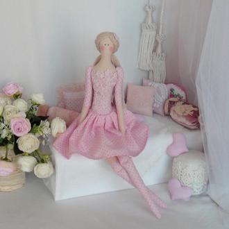 Розовая кукла Тильда 48см