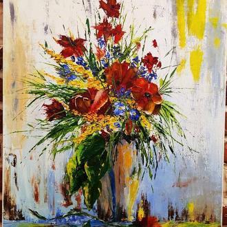 картина маслом букет цветов