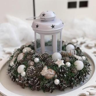 Новогодний подсвечник в белом цвете
