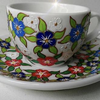 Оригинальный фарфоровый набор. Чашка с блюдцем ручная роспись!!