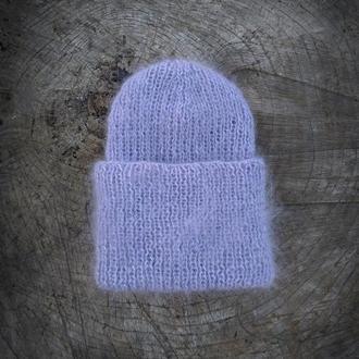 Шерстяная серая шапка вязаная