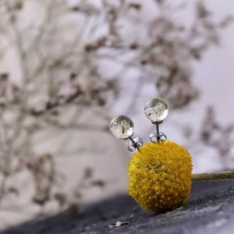 Миниатюрные серьги гвоздики с одуванчиками