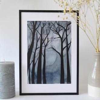 Постер в рамці. Авторська ілюстрація Містичний ліс