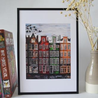 Постер в рамці. Авторська ілюстрація Амстердам