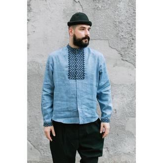 Вышиванка мужская джинсового цвета
