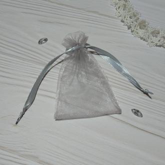 Подарочный мешочек из органзы 8 х 12 (Мешочек для упаковки подарка, подарочная упаковка) Серый