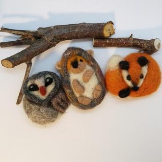 Плоские игрушки-брошки Валяные брошки Набор в одном экземпляре - перед заказом уточнить наличие