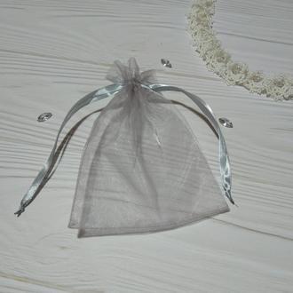 Подарочный мешочек из органзы 13 х 17 см (Мешочек для упаковки подарка, подарочная упаковка) серый