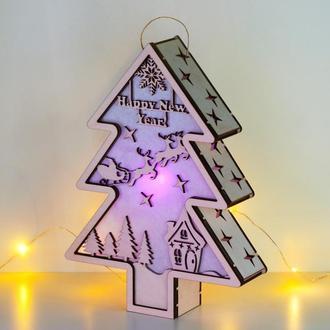 """Декоративный светильник - елочка """"Санта и олени"""""""
