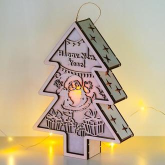 """Декоративный светильник - елочка """"Веселый Санта"""""""