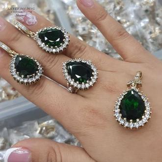 Жіночий комплект з срібла Хюррем Султан із зеленим каменем ручної роботи