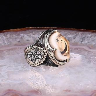 Купити кільце чоловіча срібло Емаль Янтар натуральний оригінальний