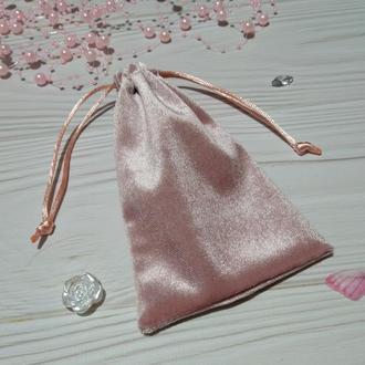 Подарочный мешочек из бархата 10 х 16 см (бархатный мешочек, мешочек для украшений) цвет - розовый (