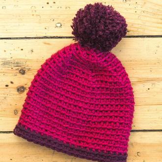 Женская шапка с помпоном из полушерстяной пряжи, весна/осень