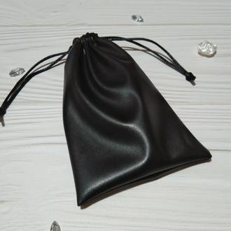 Подарочный мешочек из эко-кожи 10*16 см (кожаный мешочек, мешочек для украшений) цвет - черный